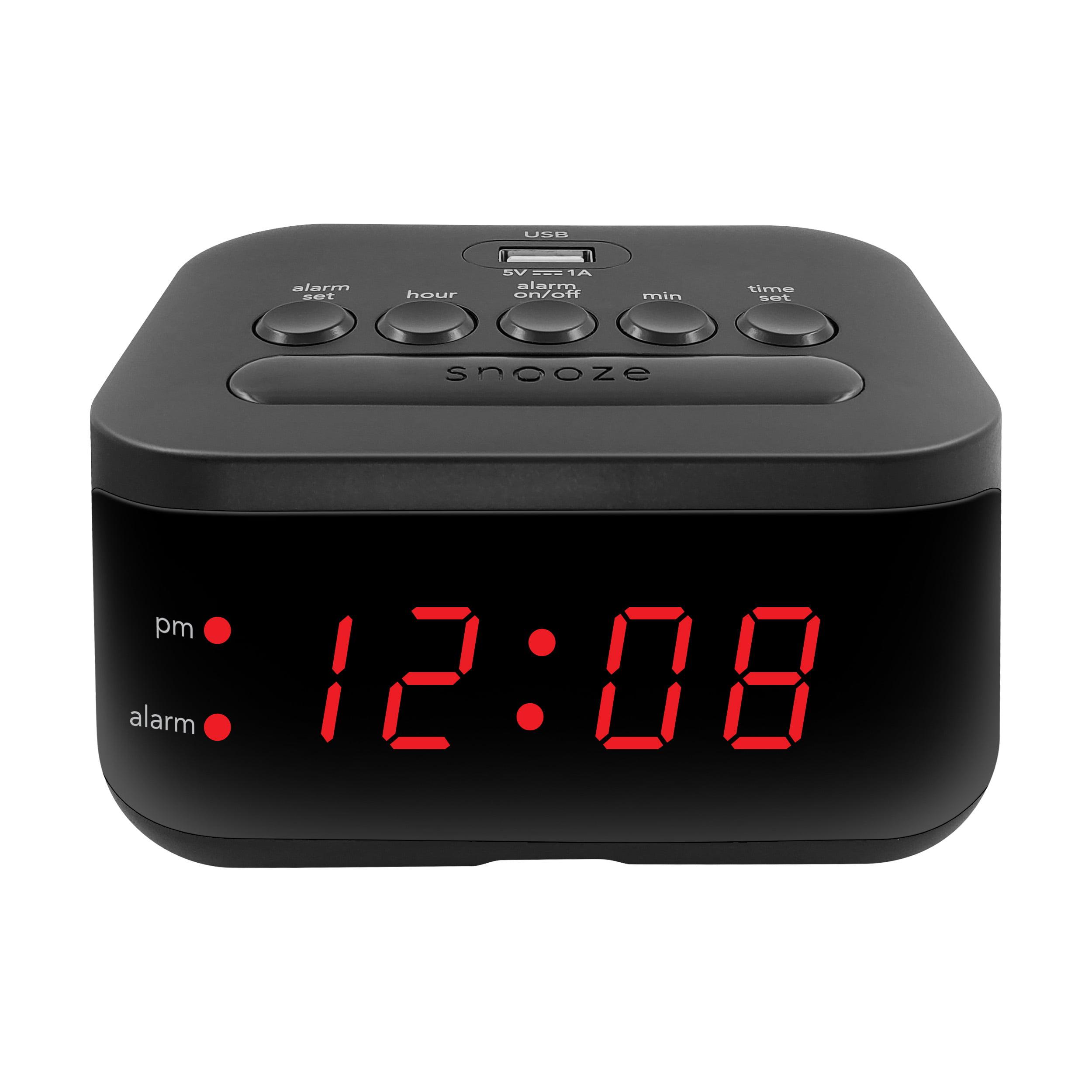 High Speed Dual USB Ports Big White Digital Display Snooze LICIN LED Digital Alarm Clock,Dual Alarm 5 Preset FM /& DAB Stations Optional Alarm Sounds And Volume for Home Bedroom Decor.