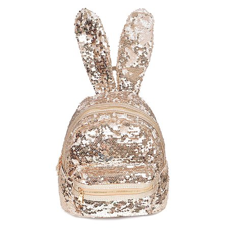 Womens Sequins All Flashy Bunny Ear Adorable Zipper Closure Bags Backpack PP6605 for $<!---->