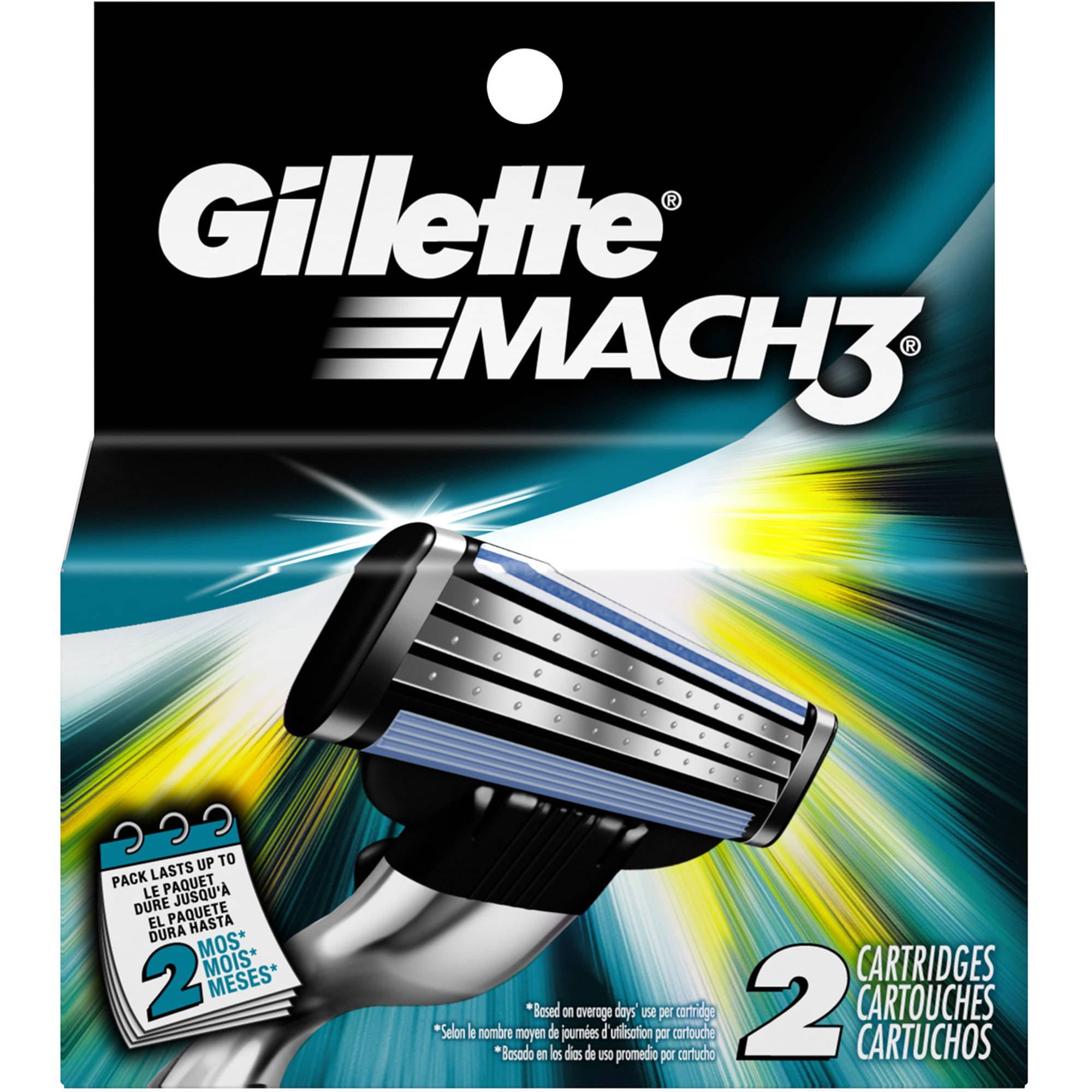 Gillette Mach3 Men's Razor Refill Cartridges, 2 count
