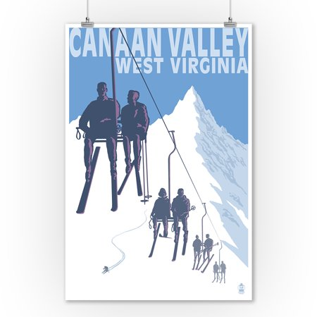 Canaan Valley, West Virginia - Skiers on Lift - Lantern Press Artwork (9x12 Art Print, Wall Decor Travel Poster)