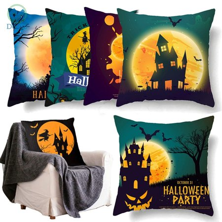 Biggest Halloween Party College (Deago Happy Halloween Throw Pillow Covers Pumpkin Bat Witch Castle Cushion Case Home Party Decoration (2PCS,)