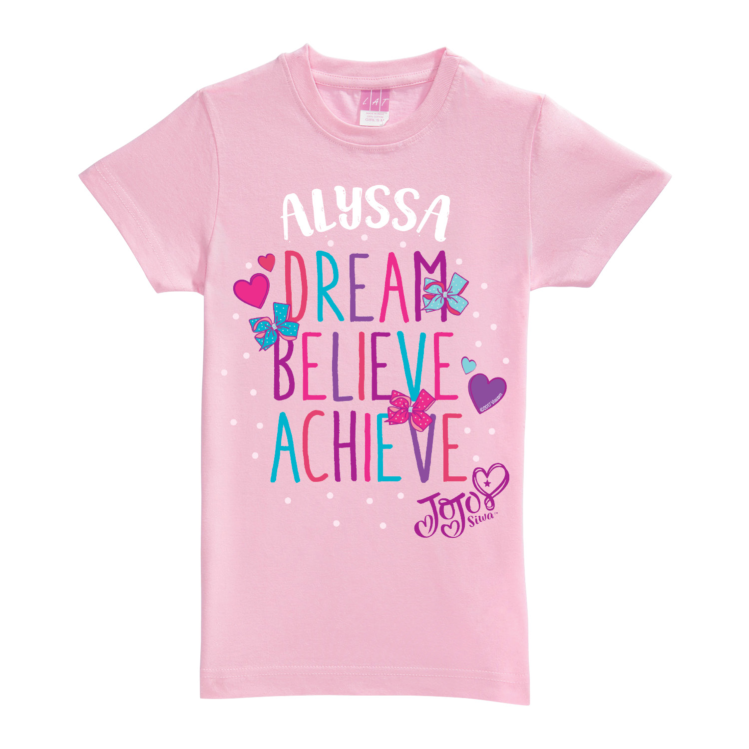 Personalized JoJo Siwa T-Shirt - Dream Believe Achieve Pink Youth Fitted Tee