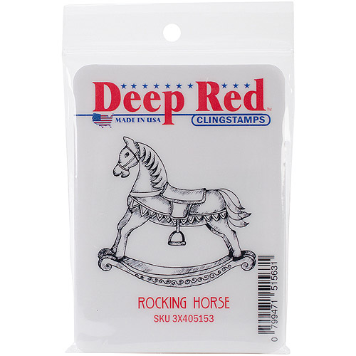 """Deep Red Stamps Deep Red Cling Stamp 2""""X2""""-Rocking Horse"""