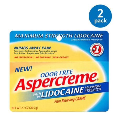 (2 Pack) Aspercreme Maximum Strength Lidocaine Pain Relieving Creme - Lidocaine Burn Relief