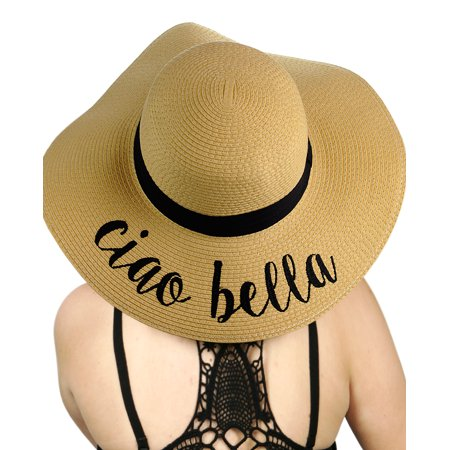 89454cc9b2312 C.C - C.C Women s Paper Weaved Crushable Beach Embroidered Quote Floppy  Brim Sun Hat