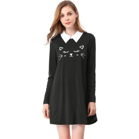 Dress For Cats (Women's Flare Hem Cat Face Pattern Contrast Collar Above Knee Dress Black S (US)