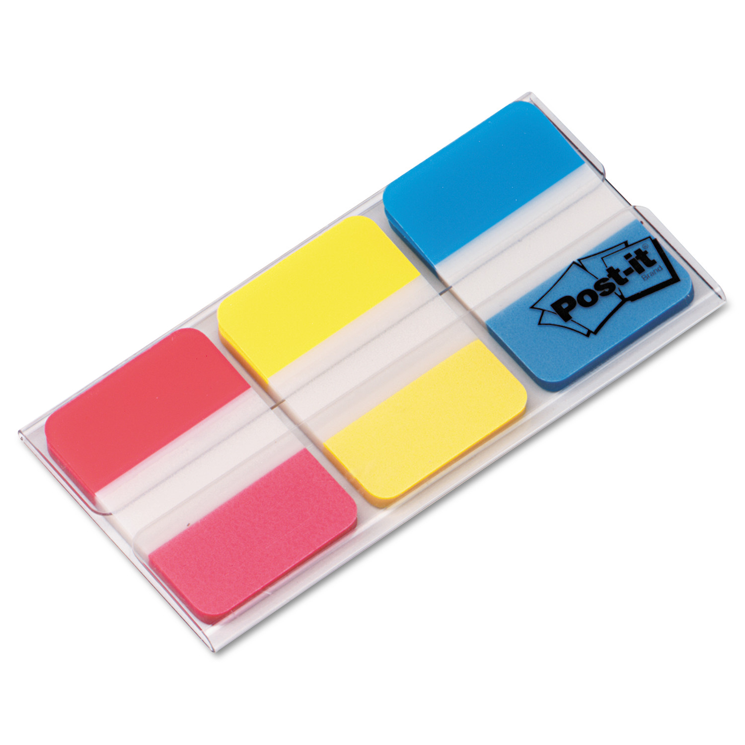 Post-it Tabs, 1 in., Solid, Red, Yellow, Blue, 22 Tabs/Color, 66 Tabs/On-the-Go Dispenser
