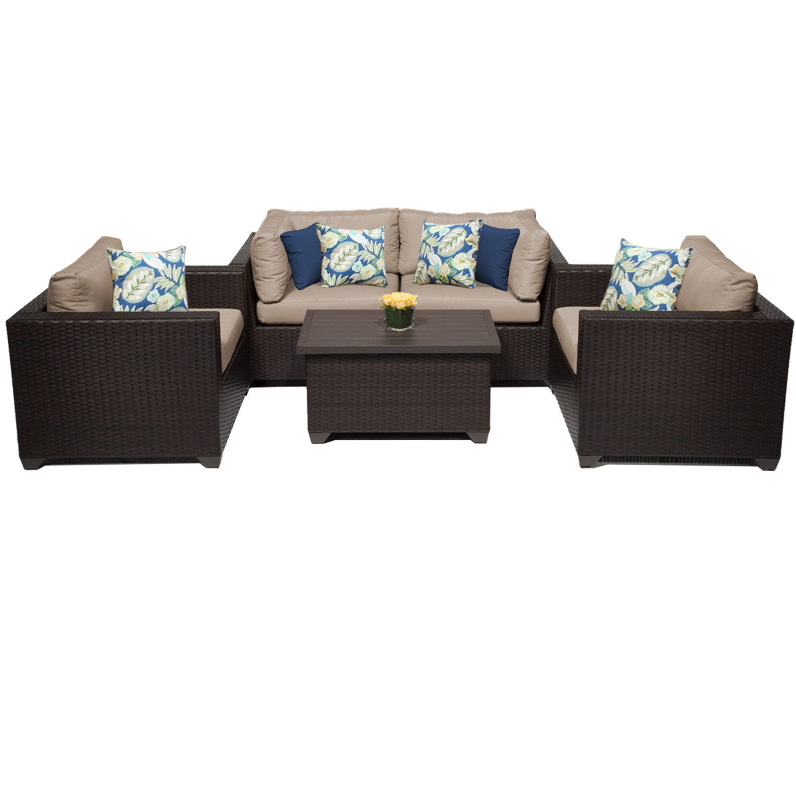 Premier 5 Piece Outdoor Wicker Patio Furniture Set 05b by TK Classics