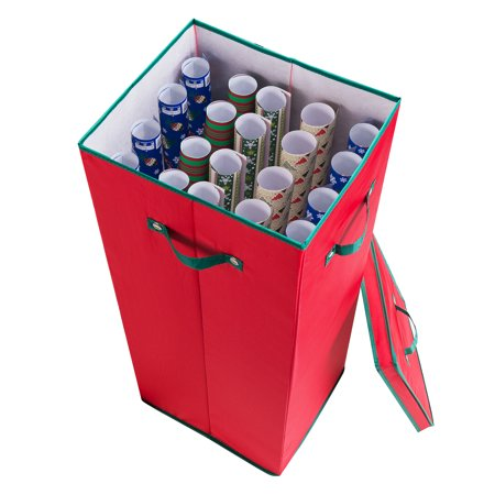 Elf Stor All Occasion Vertical 30 Inch Wrapping Paper Storage Box with Lid, Red - Elf Store Nyc