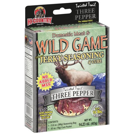 Hi-Country Domestic Meat & Wild Game Premium Jerky Seasoning & Cure Twisted Trail Three Pepper, 14.23 oz
