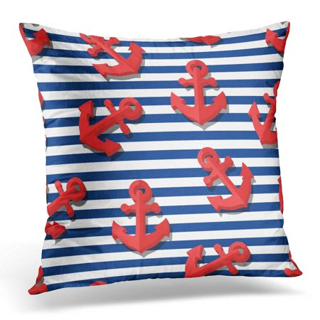 Navy Block - USART Black Kids with 3D Red Anchors and Blue Navy Stripes Summer Marine Striped Design for Flat Symbol White Pillow Case Pillow Cover 20x20 inch
