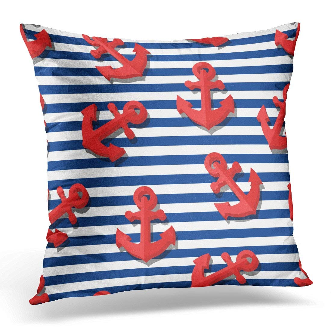 USART Black Kids with 3D Red Anchors and Blue Navy Stripes Summer Marine Striped Design for Flat Symbol White Pillow Case Pillow Cover 20x20 inch