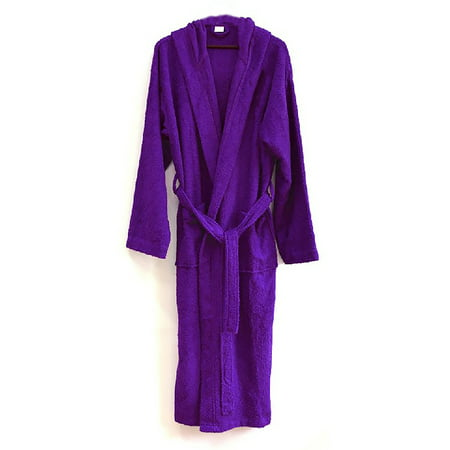 Heavy Womens 3.5lb Dark Purple Hooded Terry Cloth Bathrobe. XXL Full Length 100% Turkish Cotton
