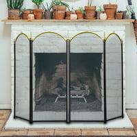 4 Panel Decorative Mesh Wrought Iron Fireplace Screen