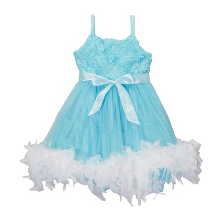 Girls Blue White Frozen Feather Rosette Flower Girl Dress 12M-10](Frozen Dress Sale)