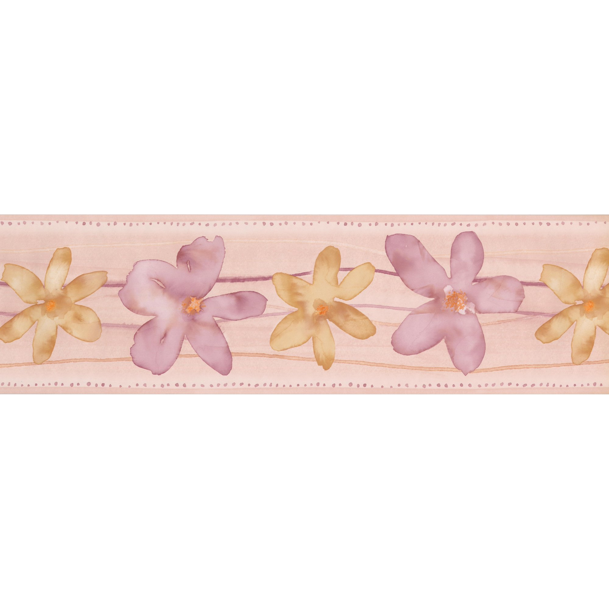 Yellow Lilac Flowers Bathroom Floral Wallpaper Border Paint By