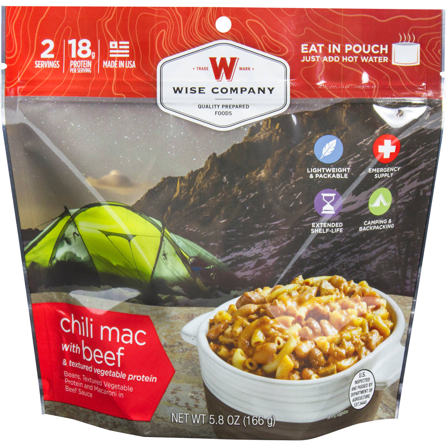 Wise Company Chili Mac with Beef & Textured Vegetable Protein Prepared Meal, 5.5 oz