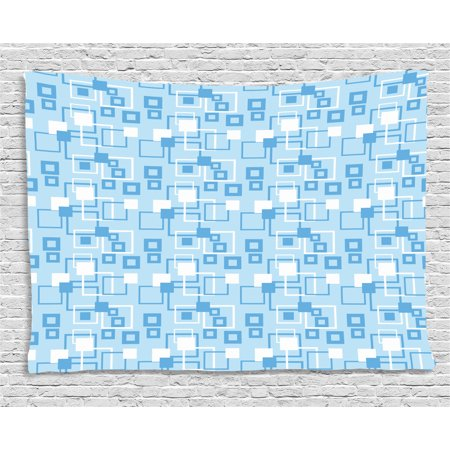 Geometric Tapestry, Simplistic Abstract Squares Kids Boys Intersection of Lines Tiles Display, Wall Hanging for Bedroom Living Room Dorm Decor, 60W X 40L Inches, Baby Blue White, by Ambesonne ()