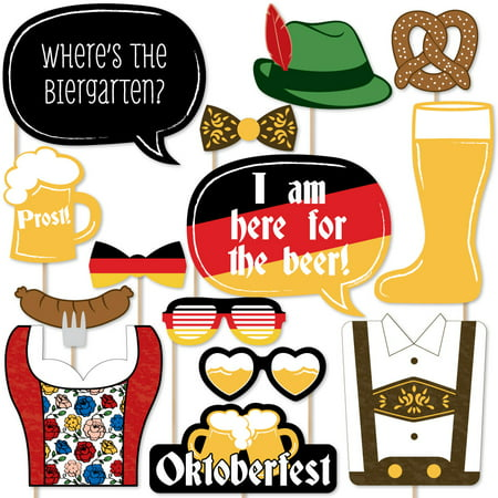 Oktoberfest - German Beer Festival Photo Booth Props Kit - 20 Count - German Oktoberfest Decorations