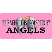 Vehicle Protected By Angels Pink Photo License Plate