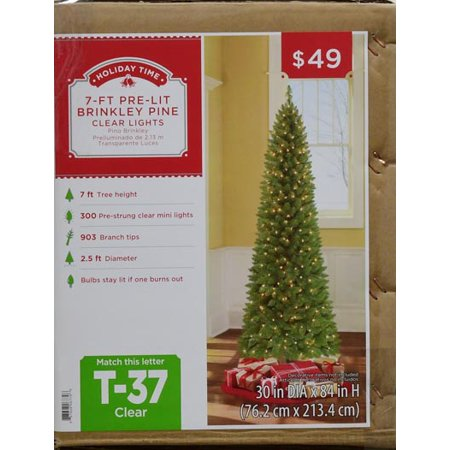 outlet store ddda5 ba5d8 Holiday Time Pre-Lit 7' Brinkley Pine Artificial Christmas Tree,  Clear-Lights