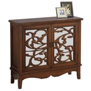 HomeRoots Decor 11-inch x 36-inch x 32-inch Walnut - Accent Chest With Mirrored Glass
