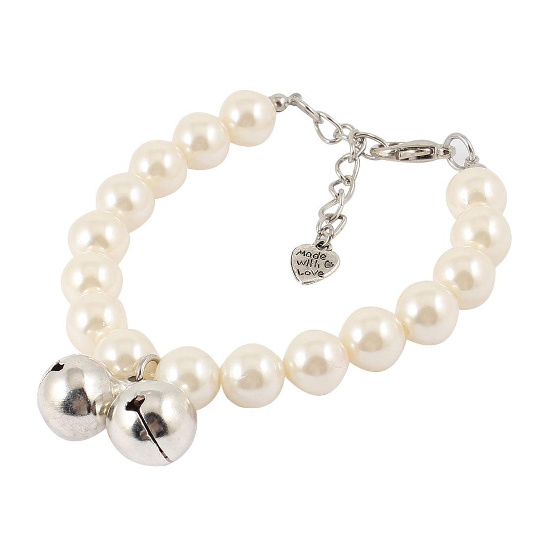 Bell Pendant White Faux Pearl Decoration Pet Dog Yorkie Cat Collar Necklace S by Unique Bargains