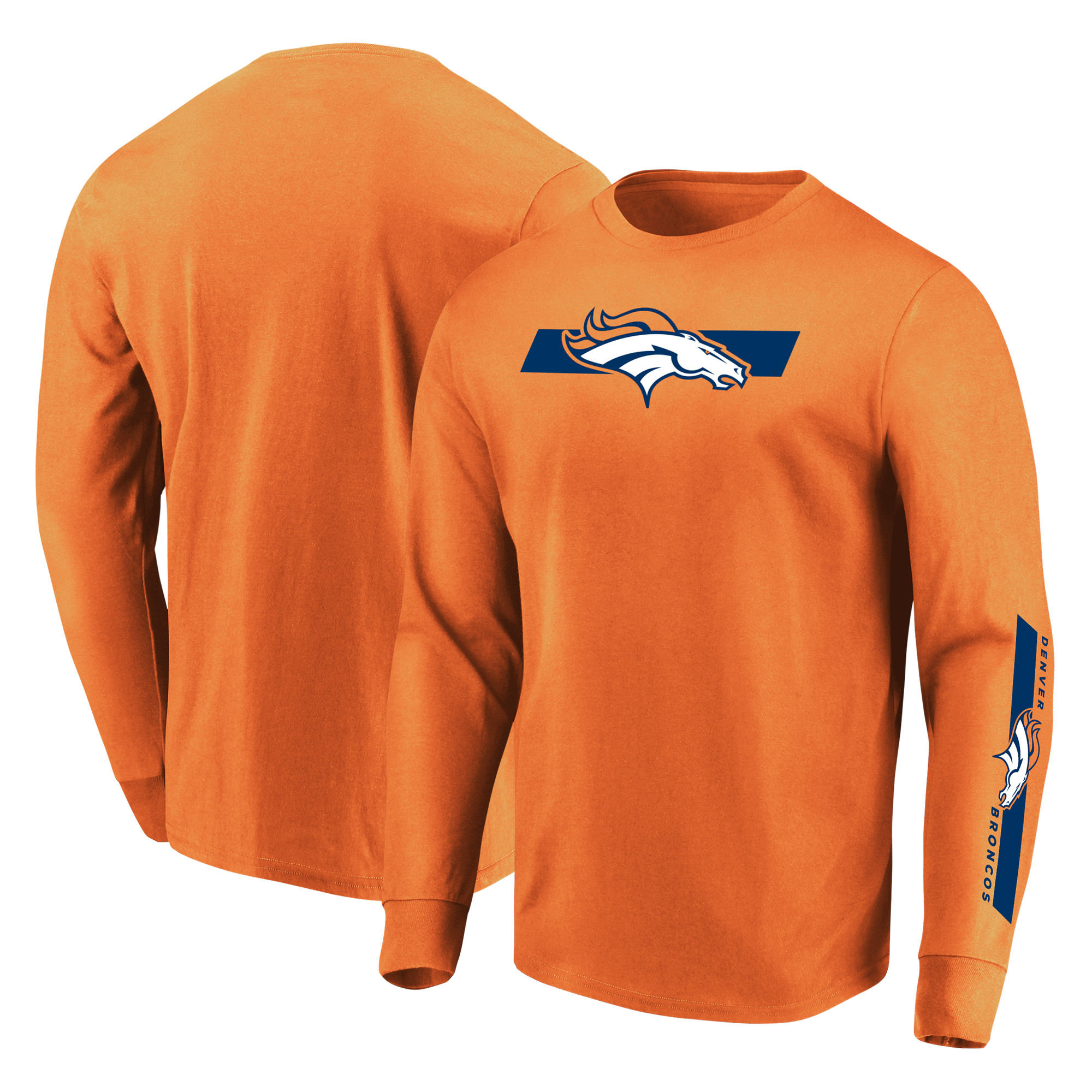 Denver Broncos Majestic Dual Threat Long Sleeve T-Shirt - Orange