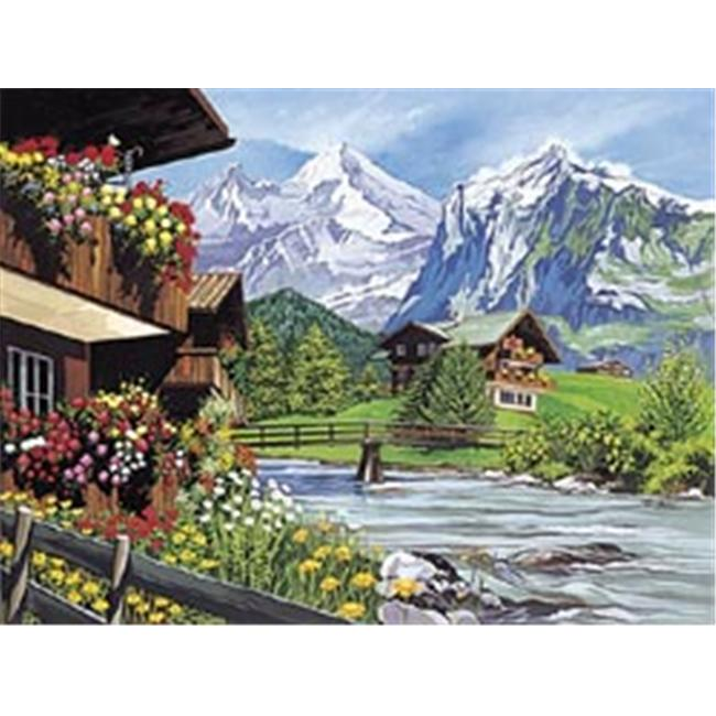 Reeves 265730 Paint By Number Kit 12 inch x 15. 5 inch -Mountain Scene
