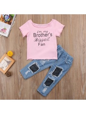 Kids Baby Girl Sister T shirt Tops+Mesh Jeans Demin Pants Outfits Set Clothes