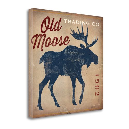 Tangletown Fine Art 'Old Moose Trading Co. - Tan' by Ryan Fowler Graphic Art on Wrapped Canvas