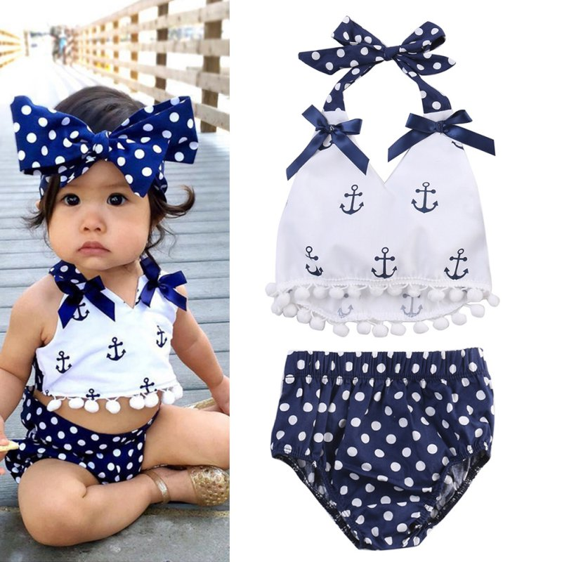 BOBORA Baby Girl 3Pcs Clothes Set Halter Bowknot Top +Dot Pants +Headband Outfit Outwear