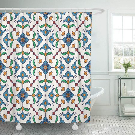 SUTTOM Beautiful Colored Pattern Portuguese Tiles Azulejo Moroccan Ornaments Shower Curtain 66x72 inch - image 1 de 1