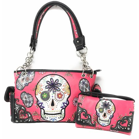 Texas West Concealed Carry Rhinestone Flora Candy Skull Handbag Purse with Matching Wallet in Multi Colors