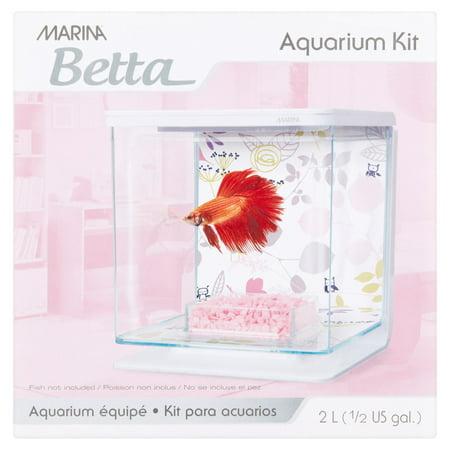Marina Betta 0.5-Gallon Aquarium Starter Kit, Floral