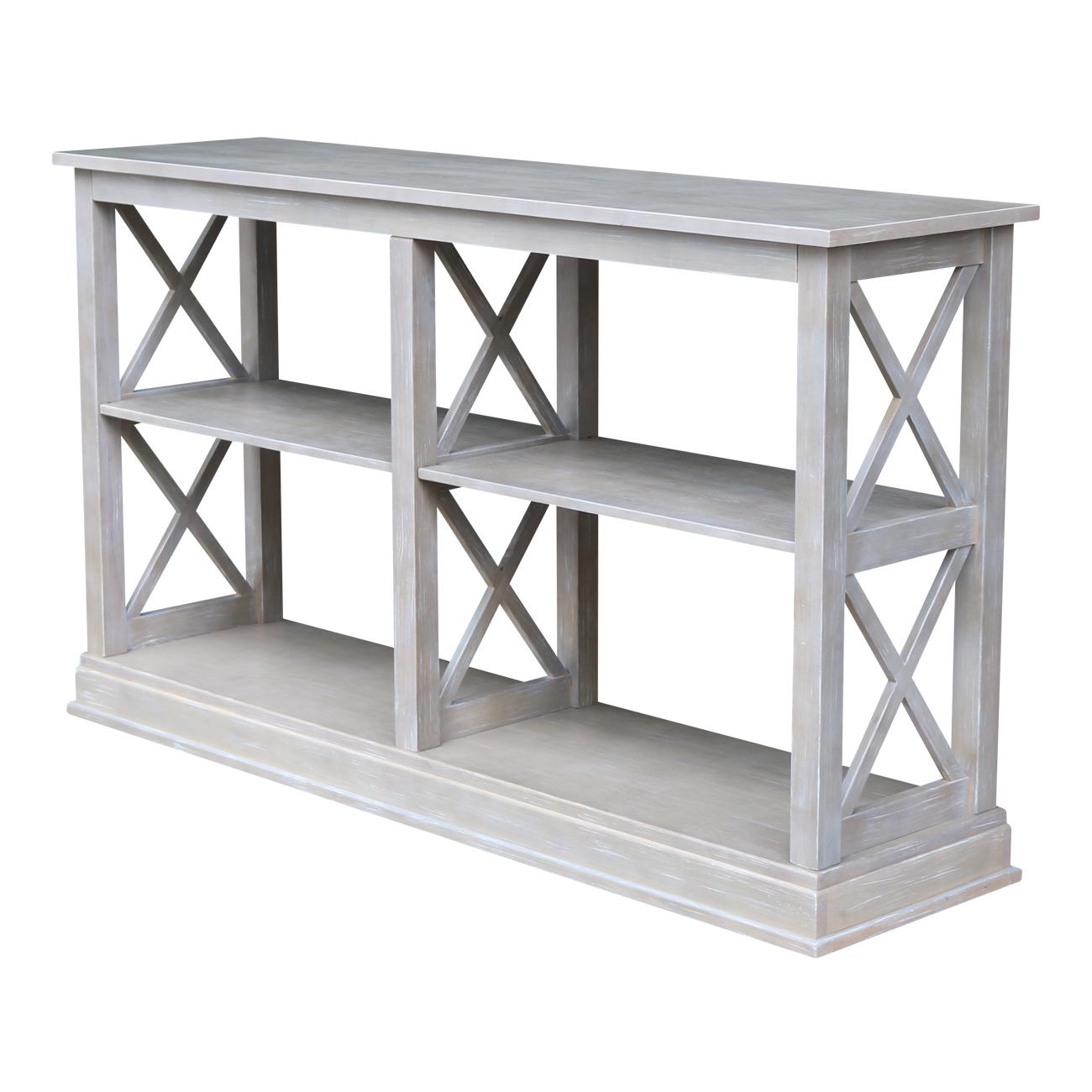 Hampton Sofa Server Table with Shelves - Gray