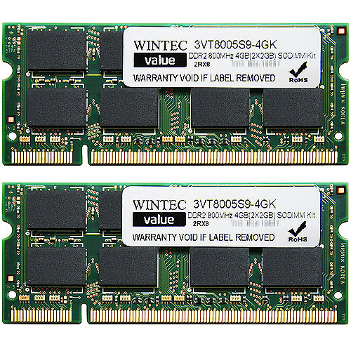 Wintec Value 4GB DDR2 800MHz PC6400 SO-DIMM Notebook Memory Kit (2GBX2)