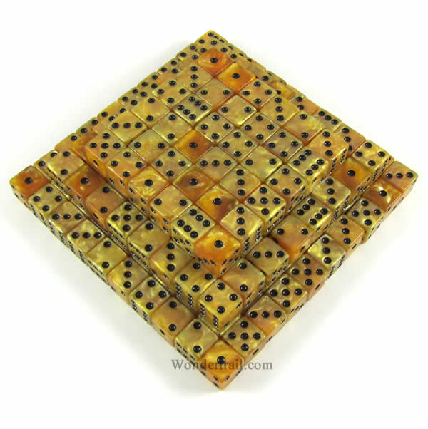 Gold Marbleized Dice with Black Pips D6 16mm (5/8in) Bulk...