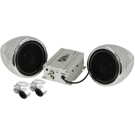 Motorcycle Sound System (Boss Audio MC420B Chrome 600 watt Motorcycle/ATV Sound System w Bluetooth Audio)