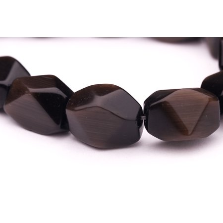 - Faceted Hexagon Blue Tiger'S Eye Beads Semi Precious Gemstones Size: 18x13mm Crystal Energy Stone Healing Power for Jewelry Making