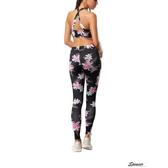 66bb4029a1d5a Spencer - Spencer Women Fitness Workout Leggings Floral High Waist Yoga  Pants Gym Sports Stretch Trousers