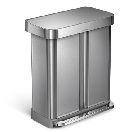 simplehuman 58 litre / 15 gallon dual compartment step trash can / recycler nano-silver clear coat stainless steel