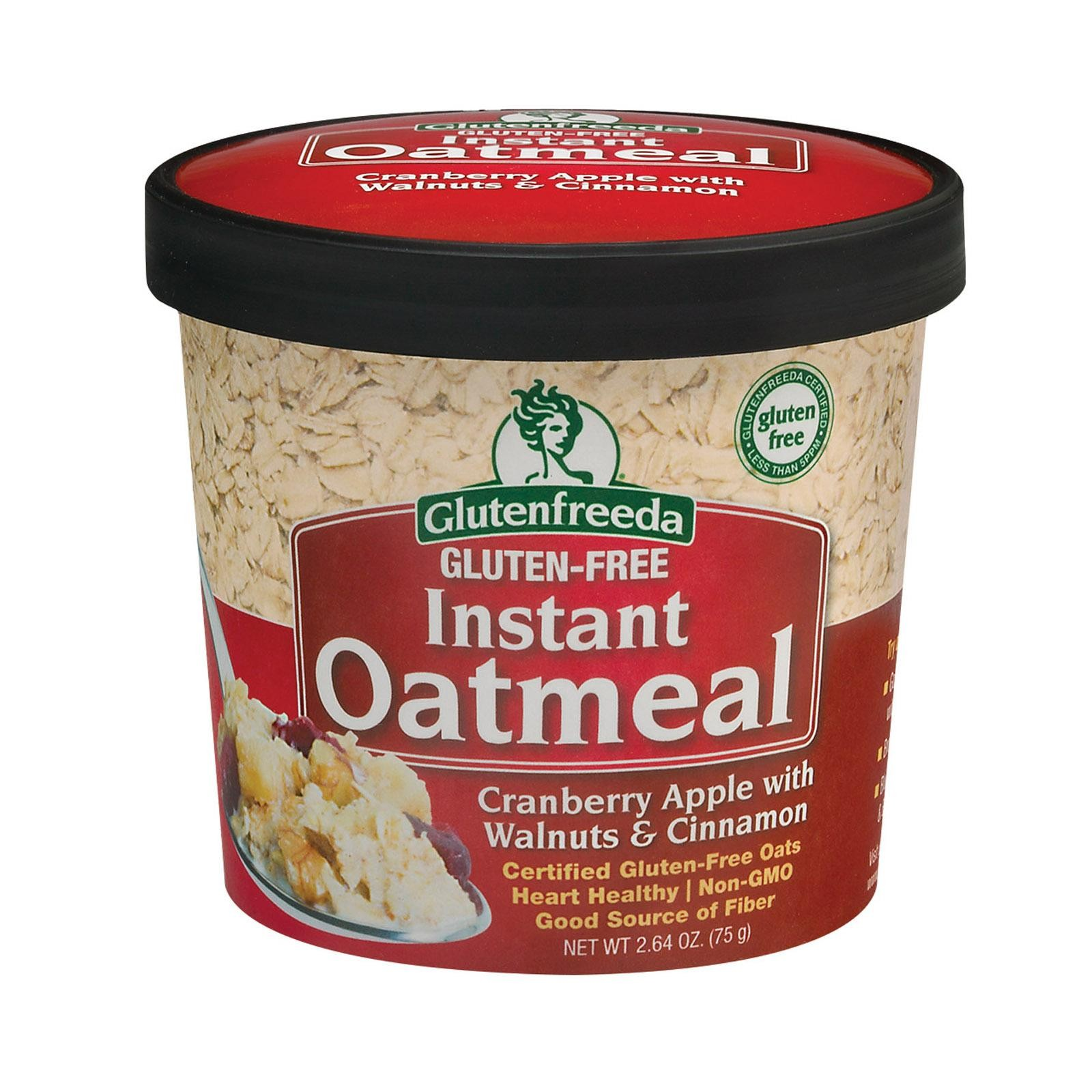 Gluten Freeda Instant Oatmeal Cup - Cranberry Apple With Walnuts And Cinnamon - Pack Of 12 - 2.64 Oz.