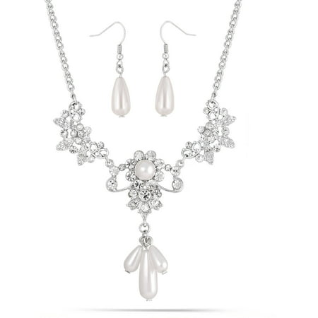 Silver-Tone, Crystal and Pearl Drop Necklace and Earring Set, 16-1/2