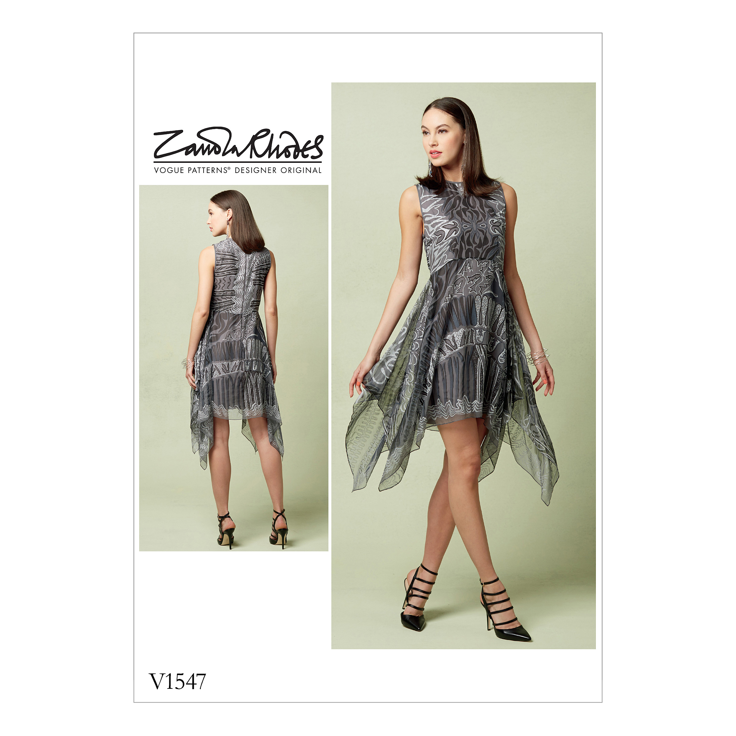 Vogue Patterns Sewing Pattern Misses' Lined Dress with Handkerchief-Style Overlay-6-8-10-12-14