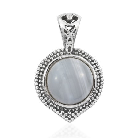 Pendant Necklace 925 Sterling Silver Round Banded Agate Boho Handmade Jewelry for Women