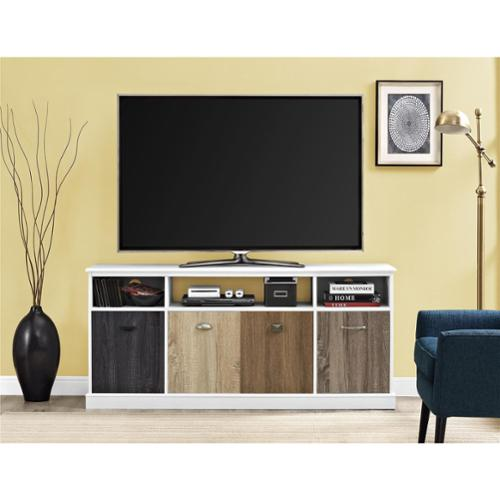 Altra Mercer White 60-inch TV Console with Multicolored Door Fronts