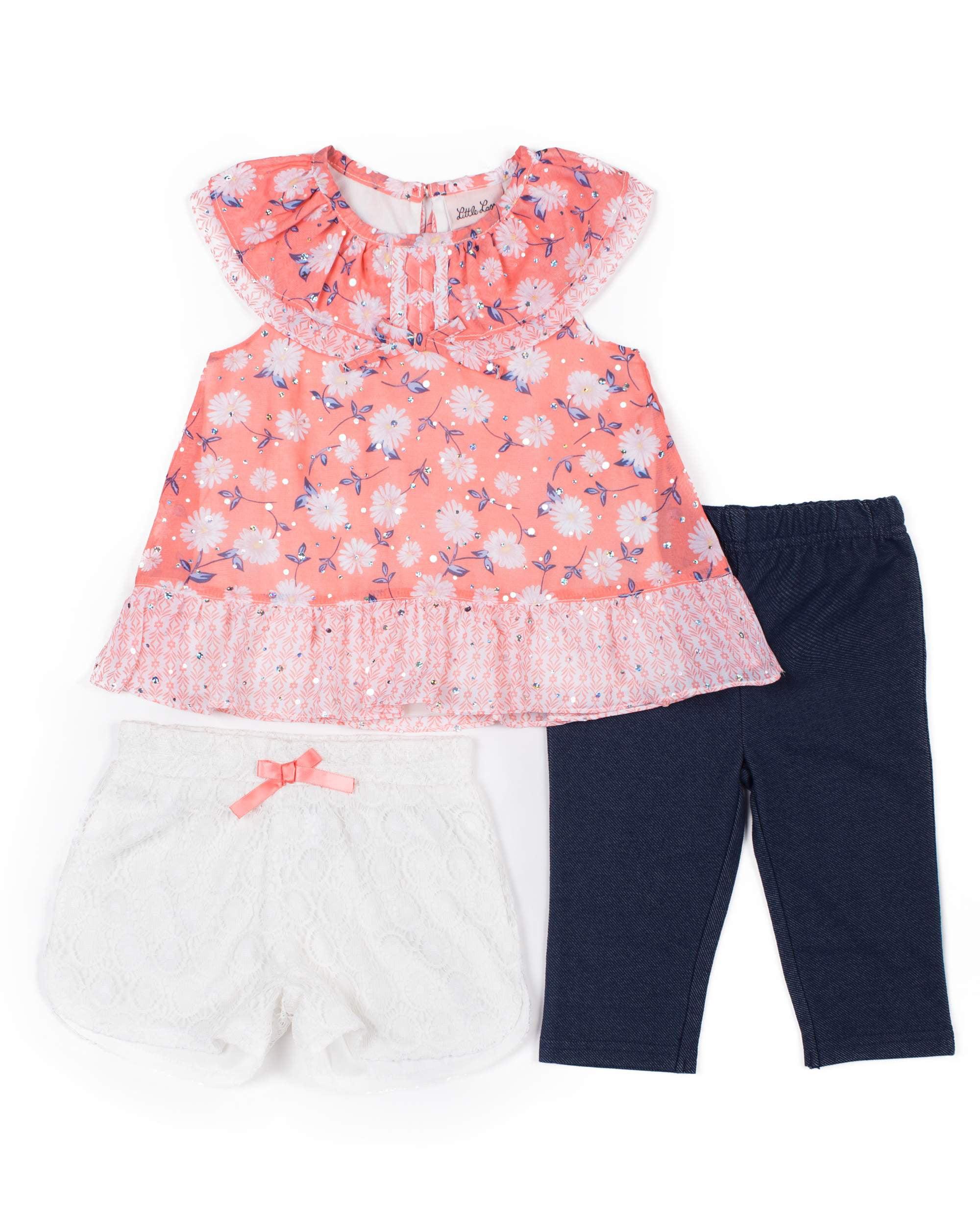 Chiffon Top, Capri Legging, and Lace Short, 3-Piece Mix and Match Set (Little Girls)