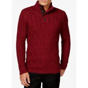Tasso Elba NEW Red Mens Small S Mock Neck Cable Knit Pullover Sweater $85