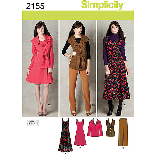 Simplicity Pattern Misses' Sportswear, Jumper in 2 Lengths, Pants and Jacket or Vest with Tie Belt, (10, 12, 14, 16, 18)